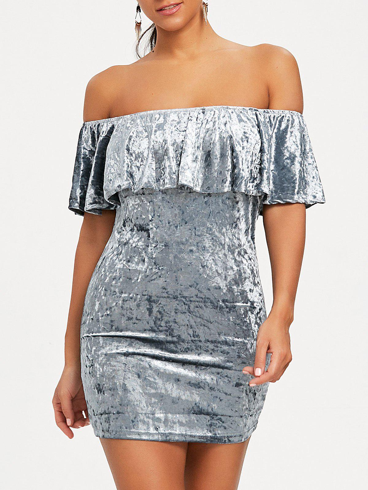 Chic Velvet Off Shoulder Bodycon Party Dress
