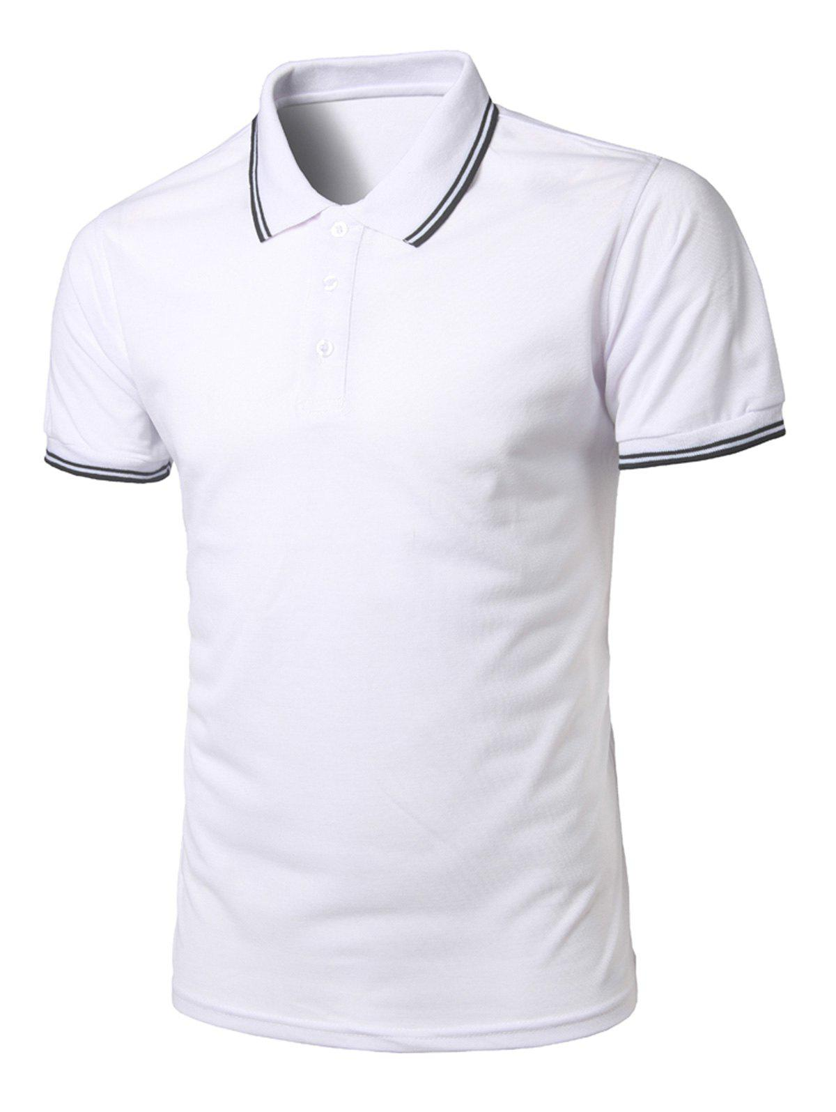 Best Stripe Trim Half Button Casual Polo Shirt