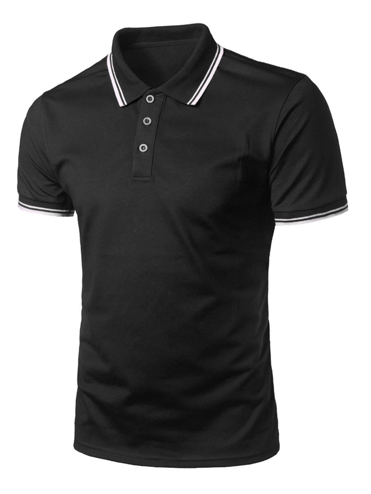 Store Stripe Trim Half Button Casual Polo Shirt