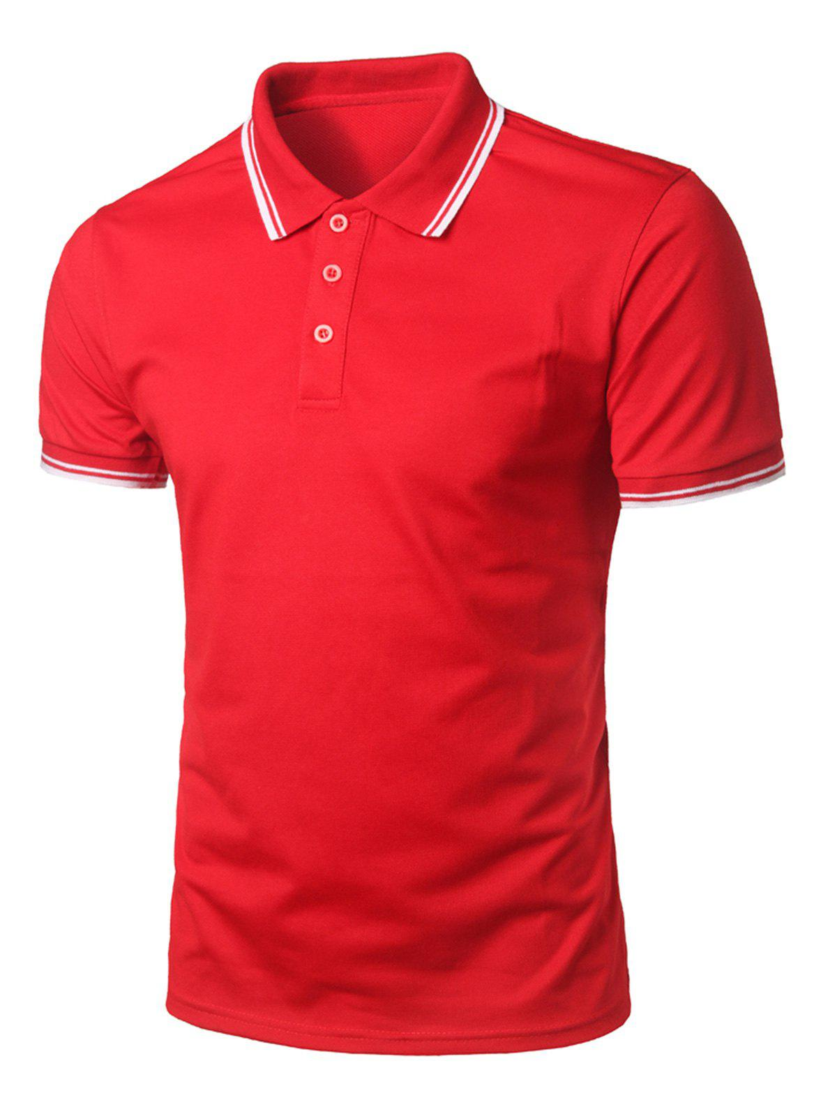 Buy Stripe Trim Half Button Casual T-shirt