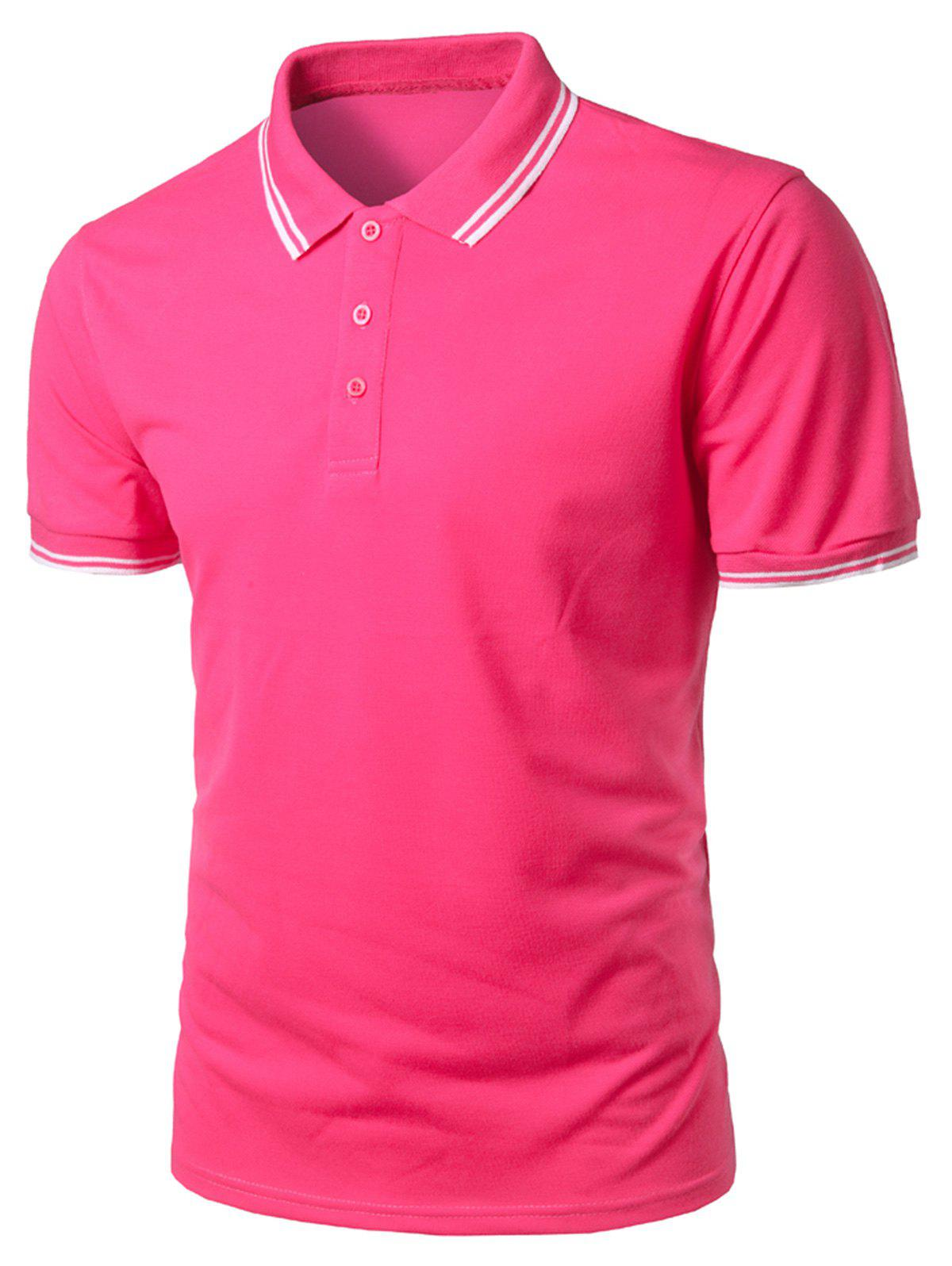 Sale Stripe Trim Half Button Casual Polo Shirt