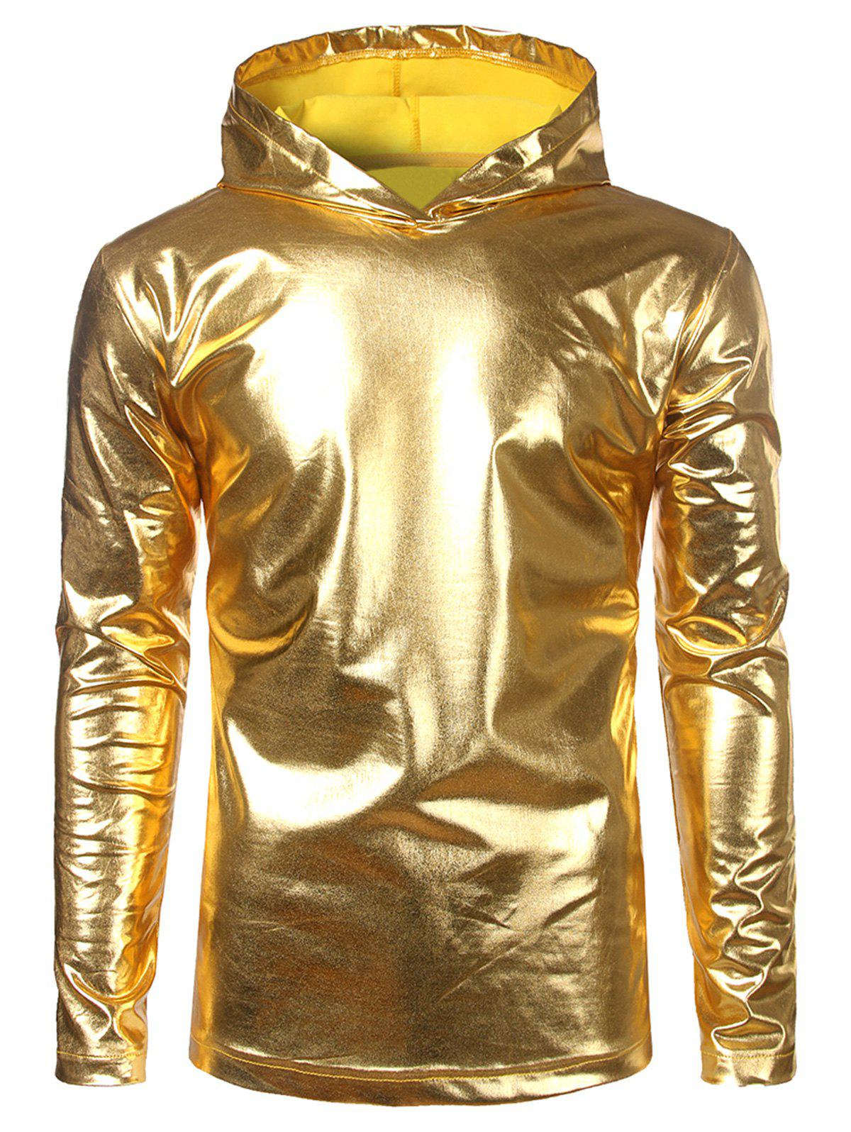 Unique Long Sleeve Metallic Color Hooded Tee