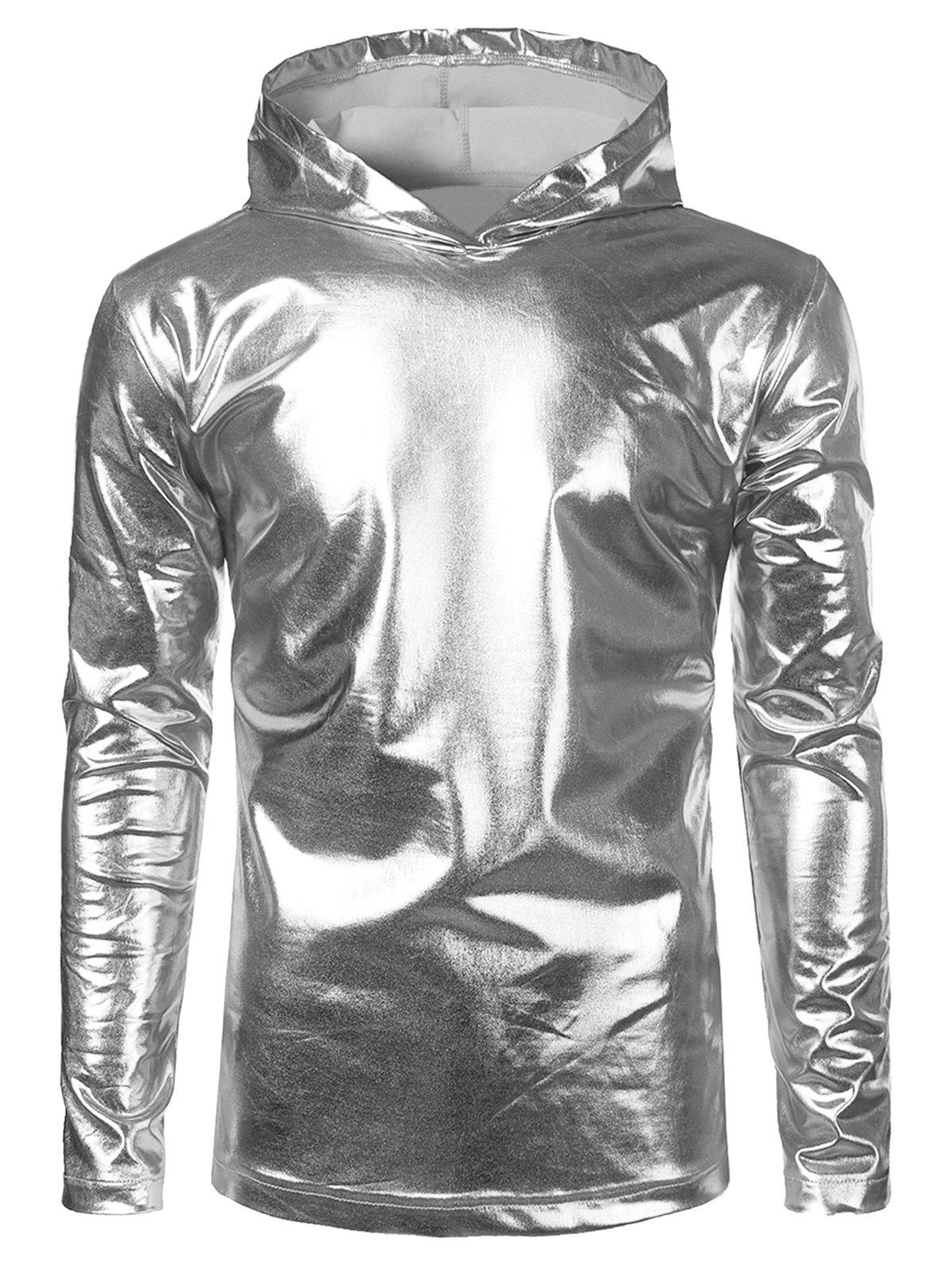 Affordable Long Sleeve Metallic Color Hooded Tee