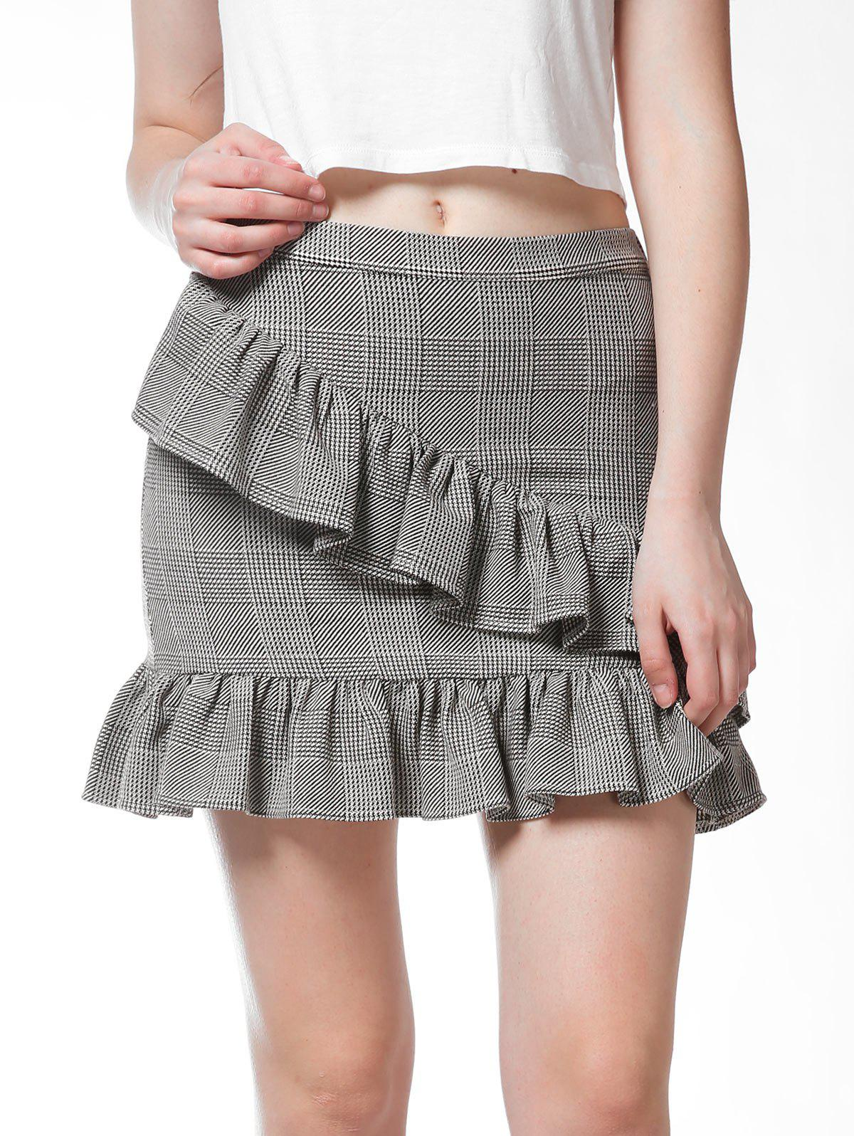 FRENCH BAZAAR Plaid Swing Ruffle Bodycon Mini Skirt