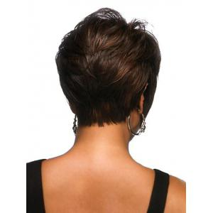 Short Inclined Bang Fluffy Natural Straight Human Hair Wig -