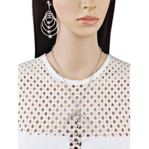 Alloy Circle Pendant Necklace and Earring Set -