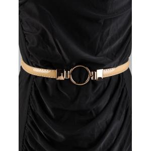 Metal Round Buckle Faux Leather Skinny Belt -