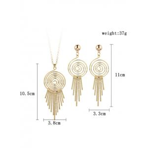 Metal Whirlpool Circle Fringed Bar Necklace with Earrings -