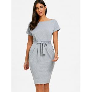 Casual Boat Neck Dress -