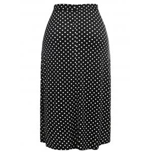 Polka Dot Plus Size High Waisted Skirt -