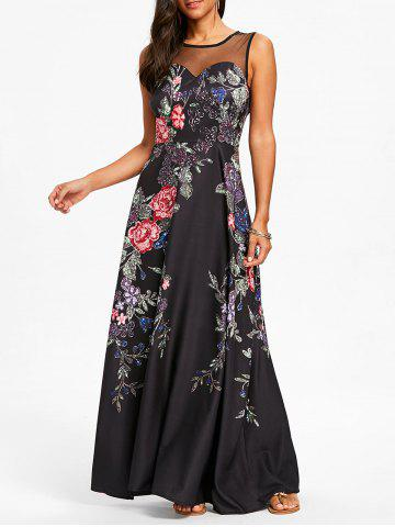 Cheap Floral Print Mesh Panel Maxi Dress
