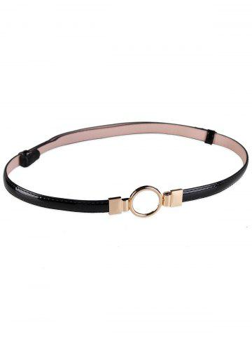 Best Metal Round Buckle Faux Leather Skinny Belt