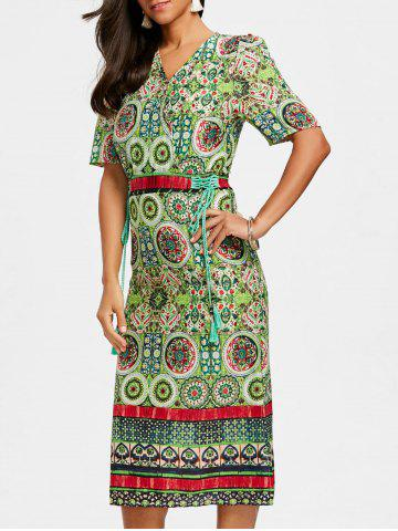 Store Bohemian Printed Midi Surplice Dress