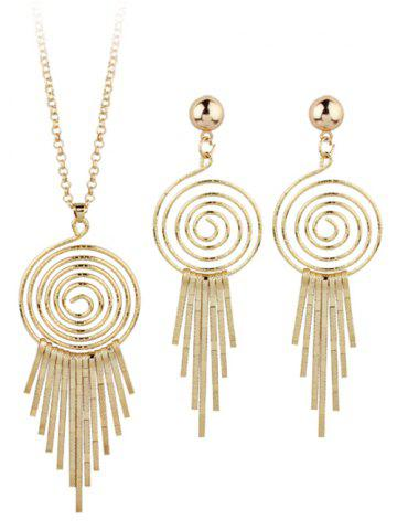 Shops Metal Whirlpool Circle Fringed Bar Necklace with Earrings