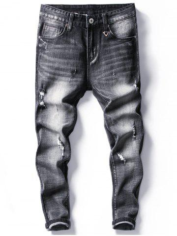 Fancy Tapered Fit Faded Ripped Jeans