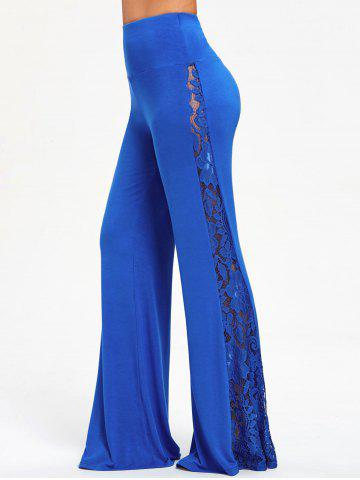 Affordable Lace Insert High Waist Wide Leg Pants