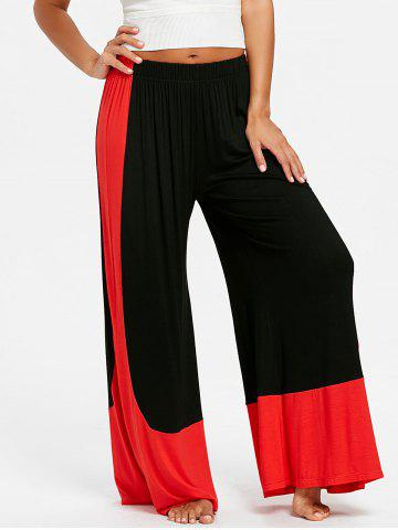Sale High Waist Color Block Palazzo Pants