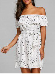 Flounce Off Shoulder Polka Dot Dress -
