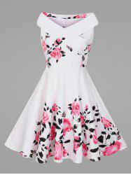 Criss Cross Plus Size Floral 1950s Pin Up Dress -
