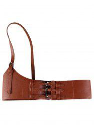 Unique Multi Buckles Faux Leather Harness Belt -