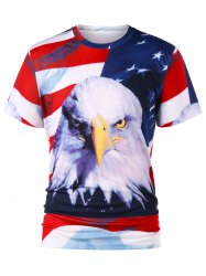 3D Eagle Print American Flag T-shirt -