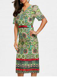 Bohemian Printed Midi Surplice Dress -