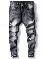 Tapered Fit Faded Ripped Jeans -