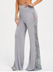 Lace Insert High Waist Wide Leg Pants -