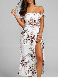 Floral Shirred Off Shoulder Dress -