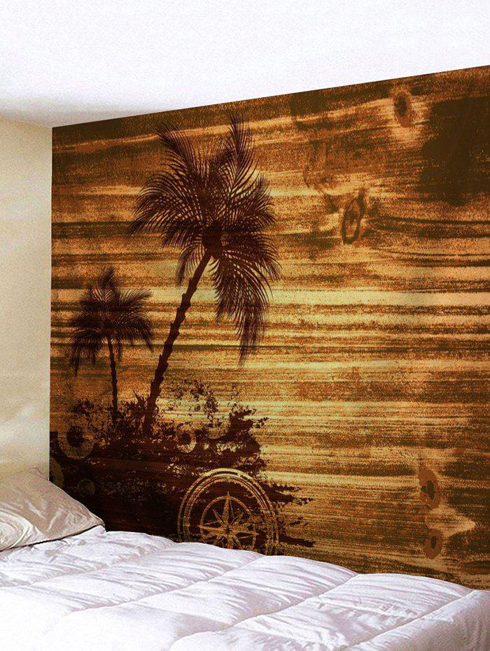 Brown W91 Inch L71 Inch Palm Tree Wood Grain Print Tapestry Wall