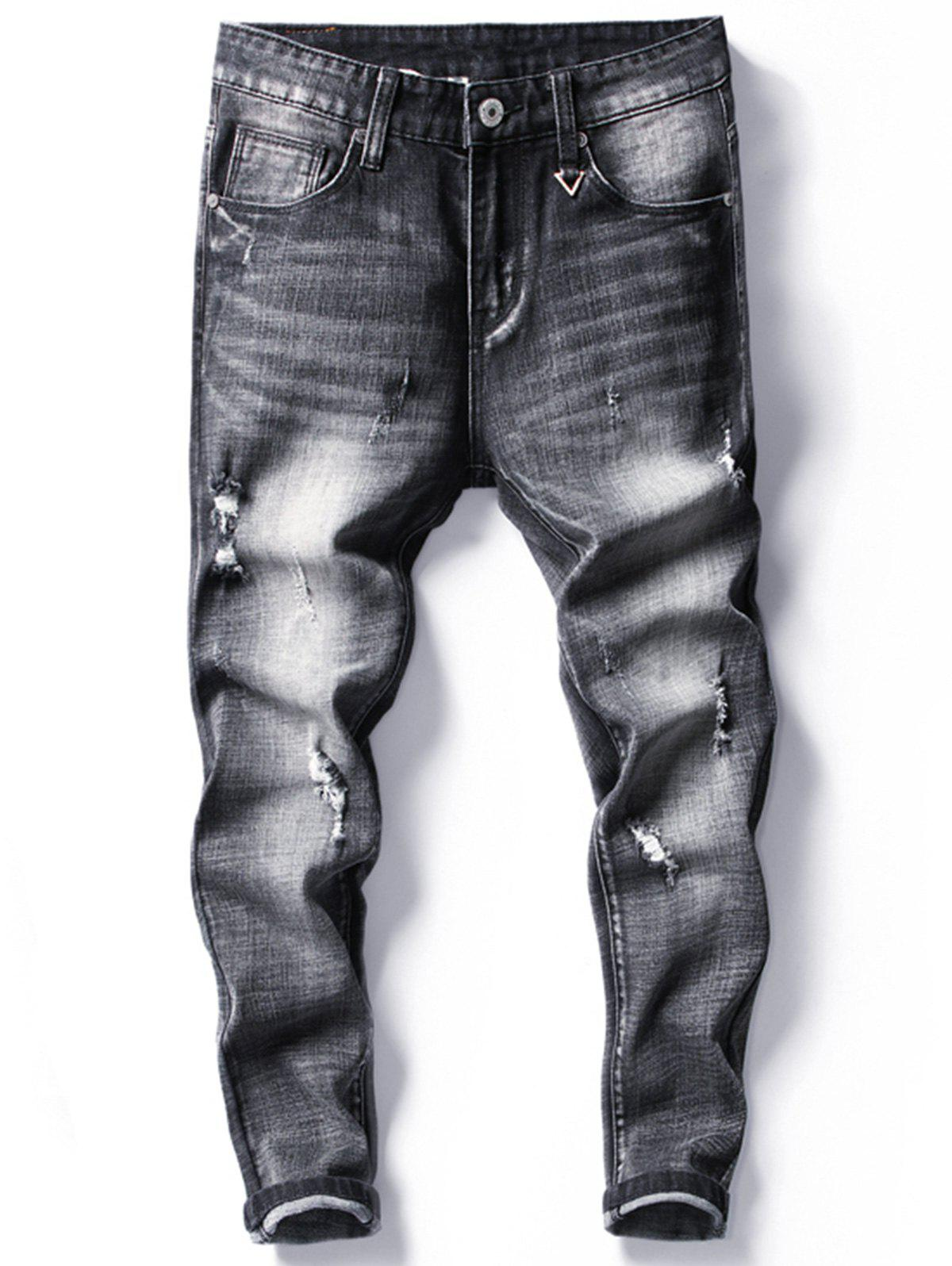85eb4c0f 33% OFF] Tapered Fit Faded Ripped Jeans | Rosegal
