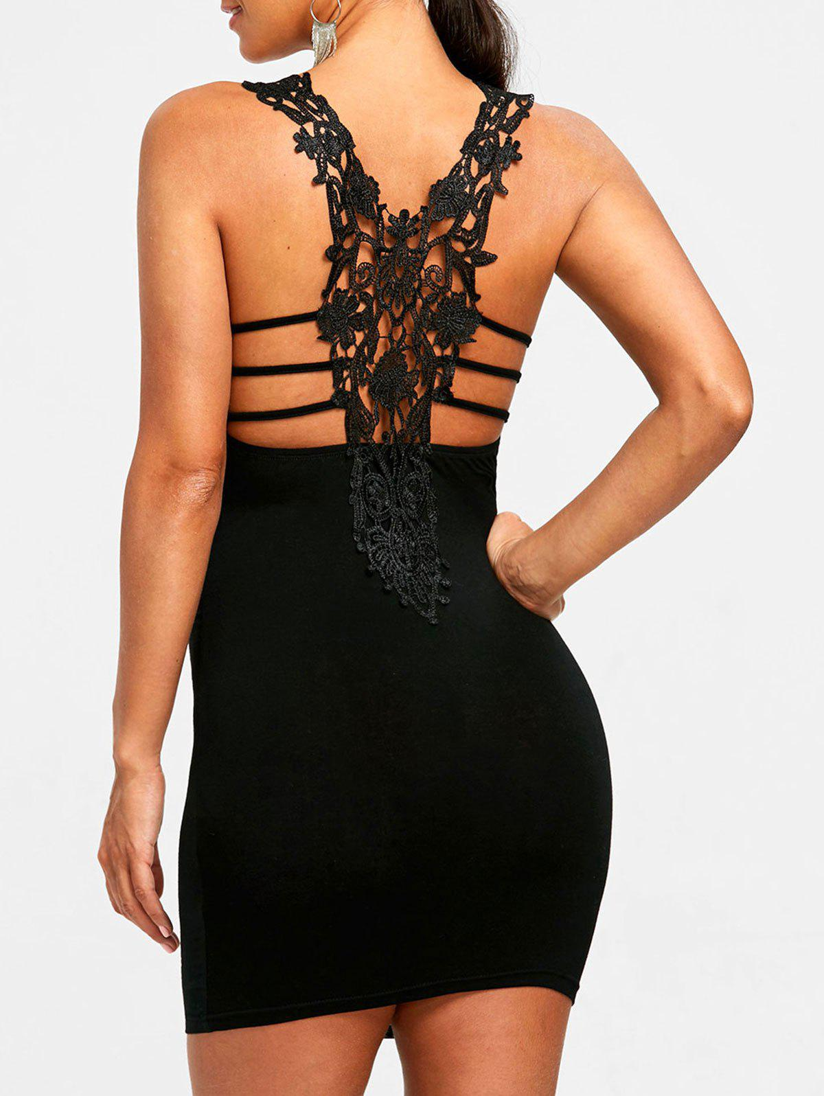 Trendy Floral Lace Trim Cutout Tight Dress