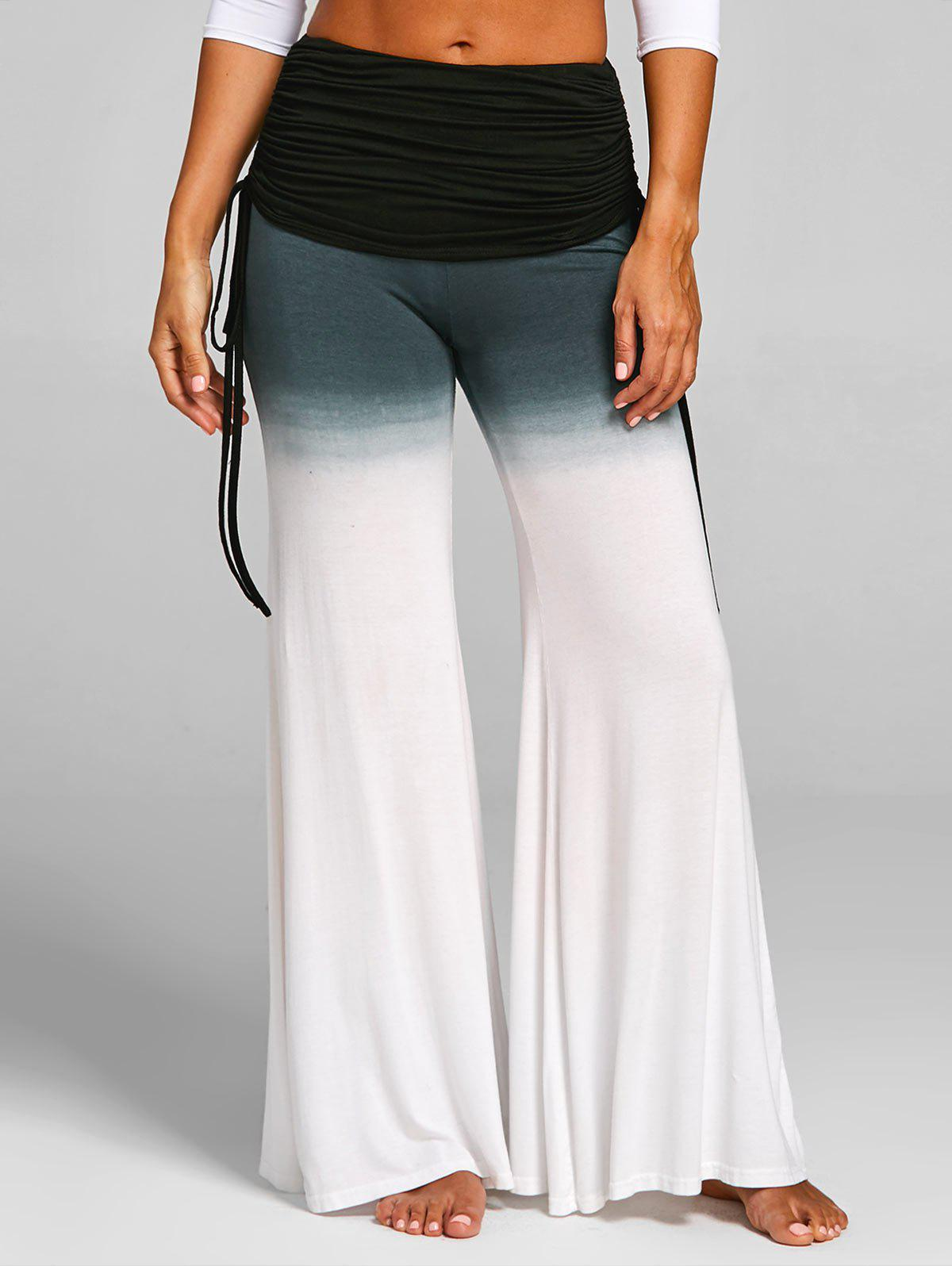 Affordable High Rise Ruched Gradient Bell Bottom Pants