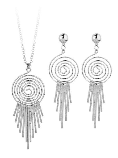 Fashion Metal Whirlpool Circle Fringed Bar Necklace with Earrings