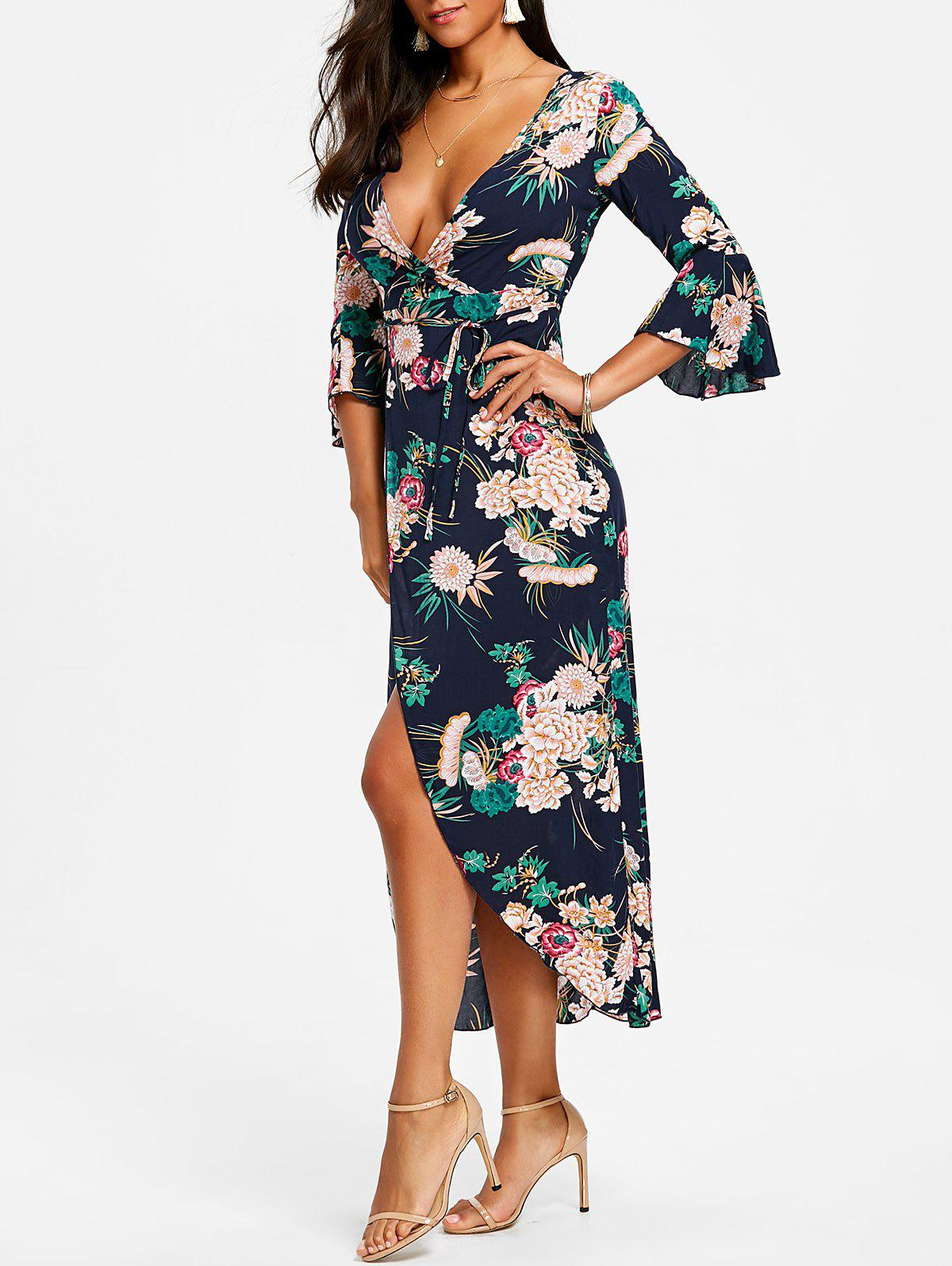 Store Print High Slit Surplice Dress
