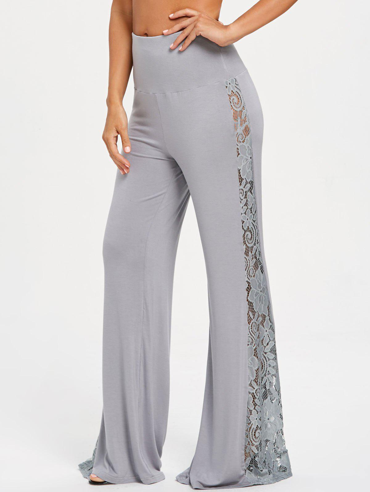 Sale Lace Insert High Waist Wide Leg Pants