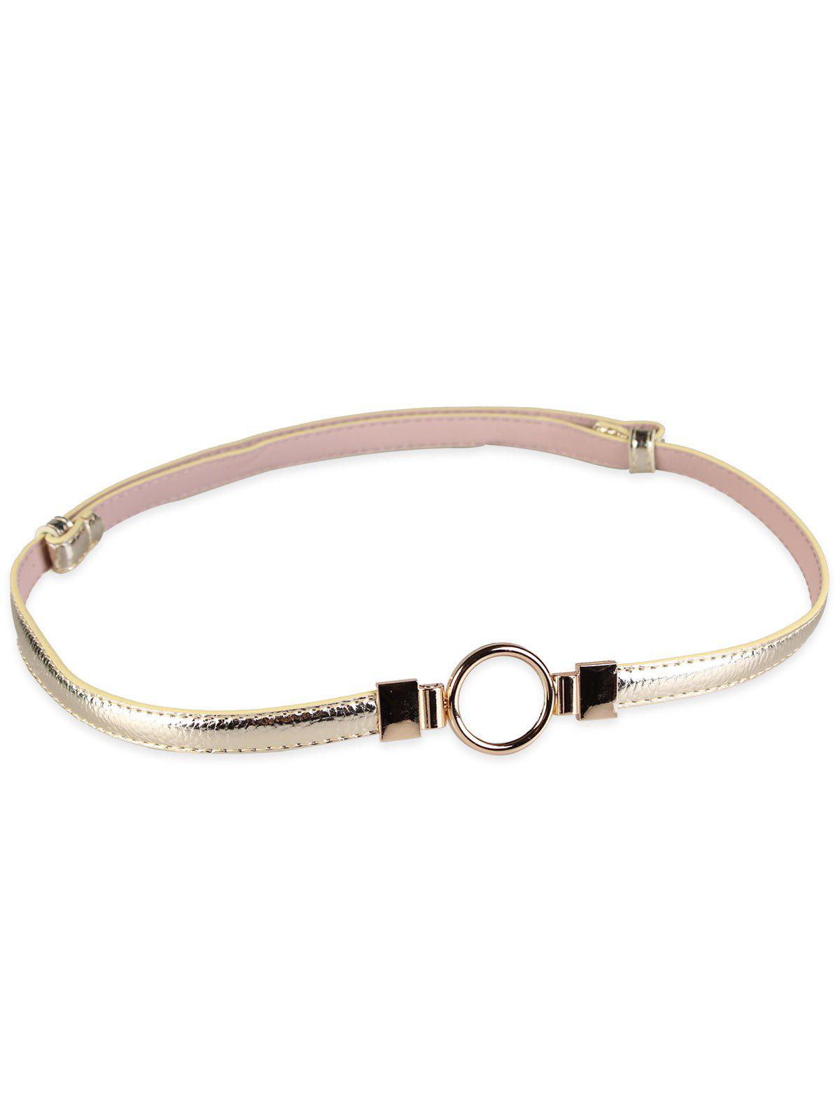 Chic Metal Round Buckle Faux Leather Skinny Belt