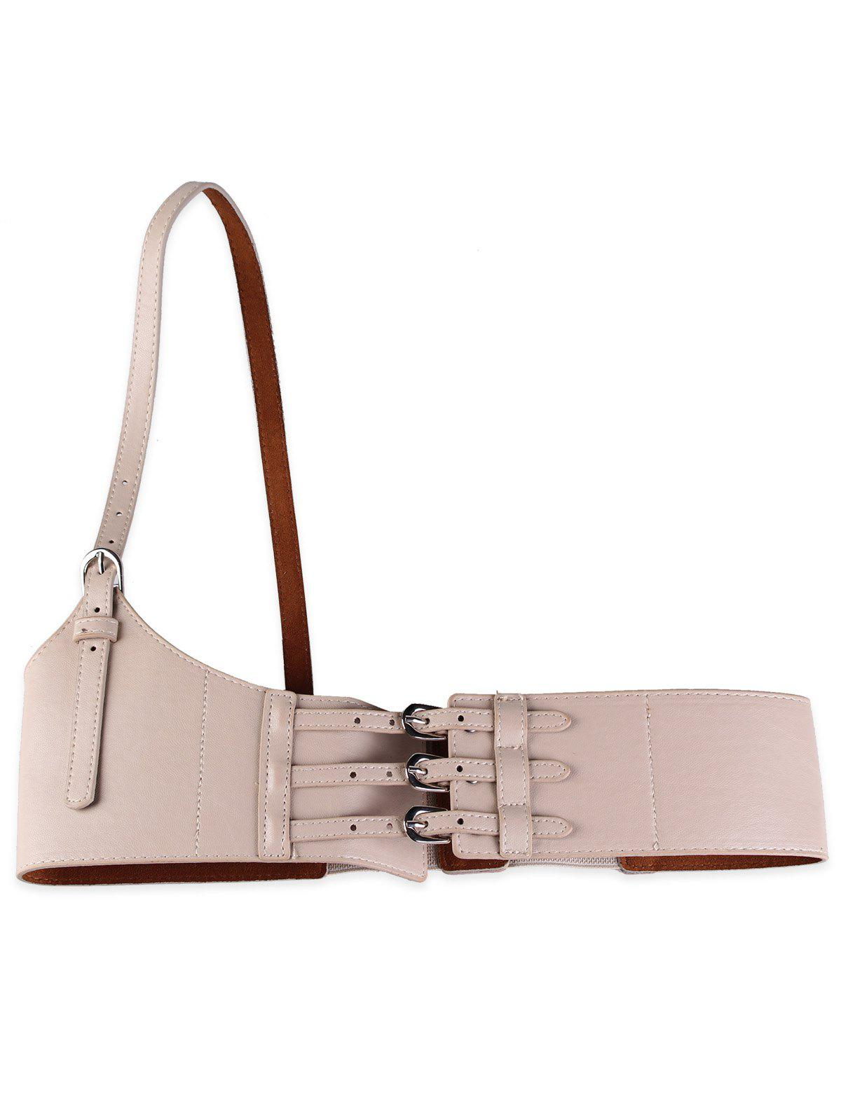 Discount Unique Multi Buckles Faux Leather Harness Belt