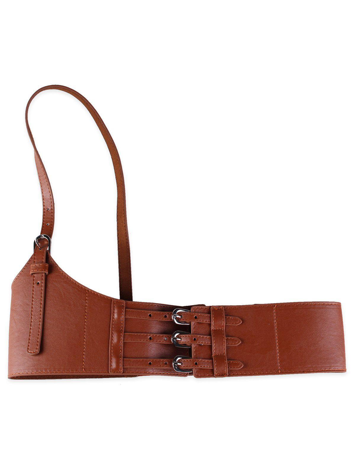 Outfit Unique Multi Buckles Faux Leather Harness Belt