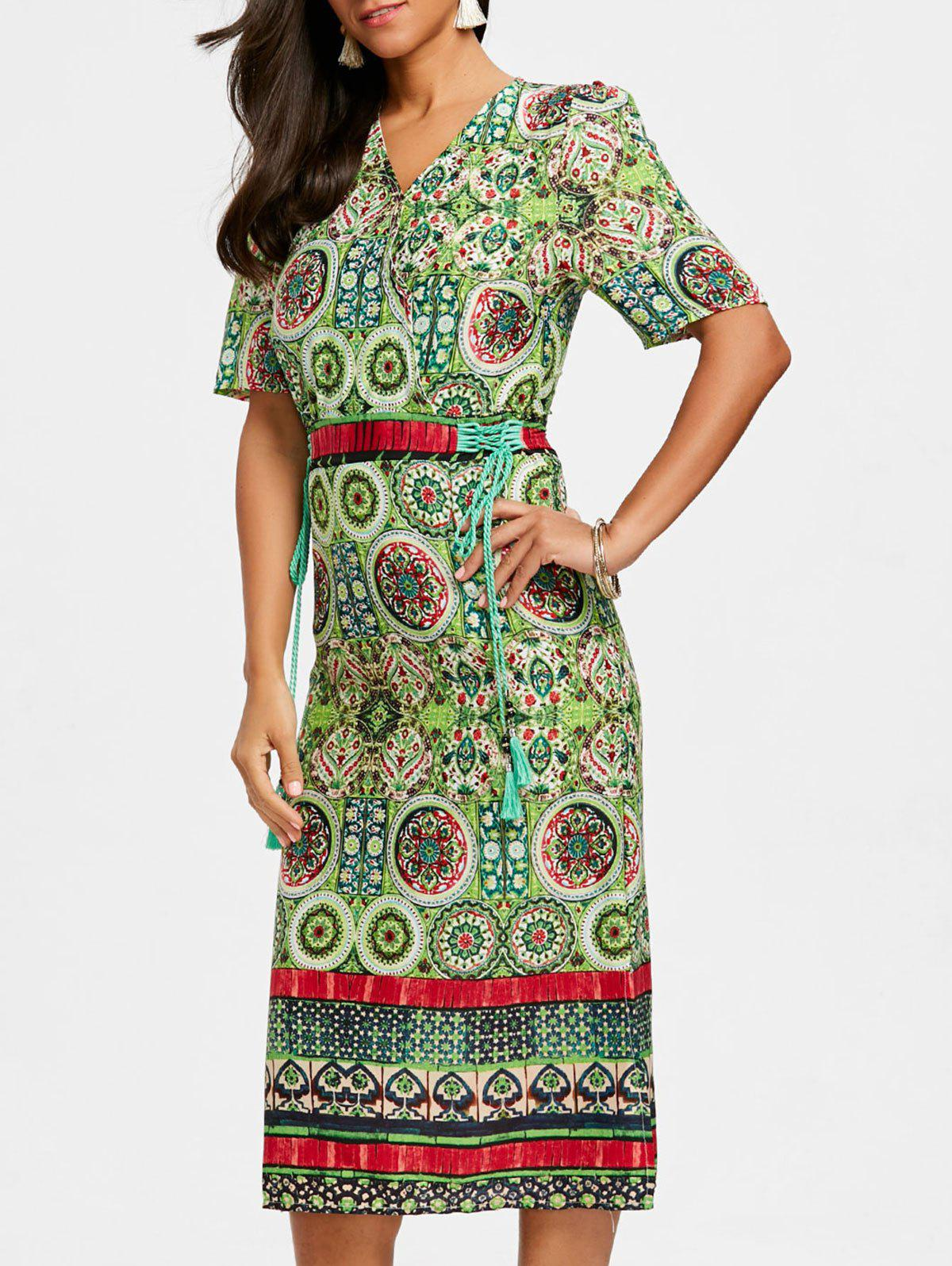 Fancy Bohemian Printed Midi Surplice Dress