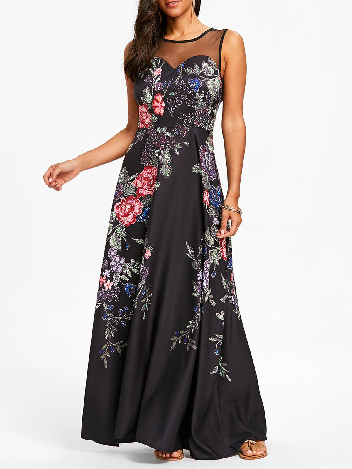 Chic Floral Print Mesh Panel Maxi Dress