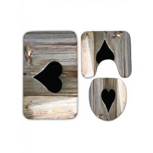 Wood Grain Heart Shape Printed Flannel Toilet Mat Set -