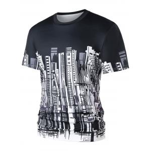 City Buildings Print Crew Neck T-shirt -
