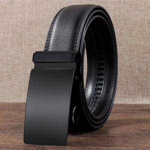 Metal Automatic Buckle Faux Leather Formal Belt -