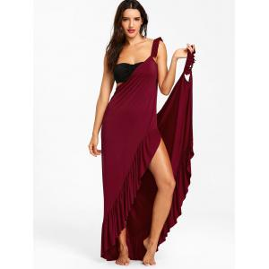 Flounce Wrap Sleeveless Cover Up Dress -