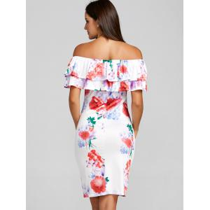 Ruffle Printed Off the Shoulder Party Dress -