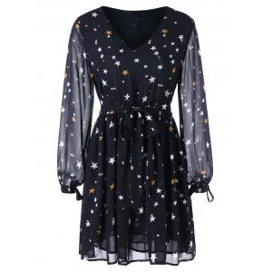 Star Print Chiffon Mini Dress -