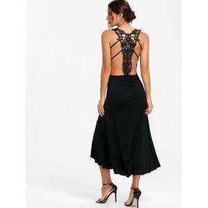 Lace Panel Ruched Backless Midi Dress -