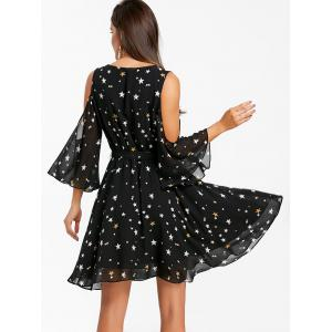 Plunging Neck Open Shoulder Stars Chiffon Dress -