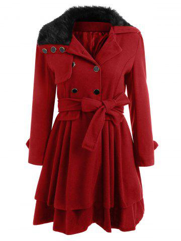 Online Skirted A Line Coat with Belt